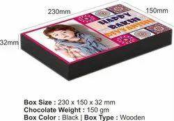 Rakhi Chocolate Gift - Customized 12 Chocolate Wooden Box