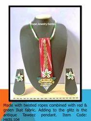 HKRL104 Rope Jewelry Ikat Fabric Pendant