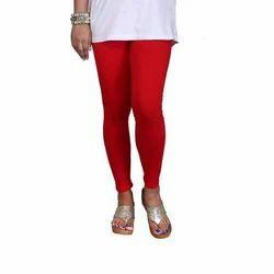 Sassy Curves Plain Red Cotton Lycra Kali Ankle Length Leggings, Size: Free Size