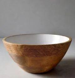 Wood White Enamel Bowl