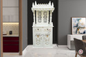 Aarsun Traditional White Finish Wooden Temple, Size: 36 X 20 X 78 Inch