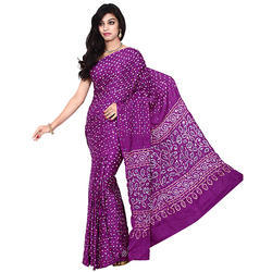 Bandhej Purple Print Saree