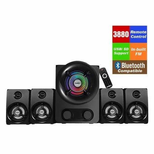 Black Plastic Frontech JIL-3980 4.1 Multimedia Speaker, Desktop & Laptop