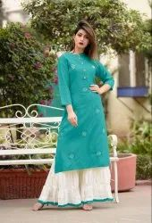 Cotton Designer Kurti With Palazzo And Dupatta