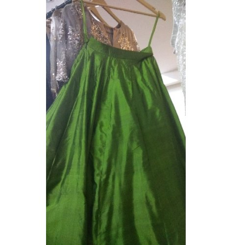Green Silk Ladies Satin Long Skirt