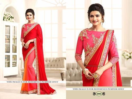 f9edb10f5460e Red Georgette Designer Saree Party wear Traditional Latest Fancy Wedding