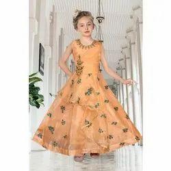 Embroidered Orange Kids Sleeveless Organza Net Party Wear Girls Gown, Size: 36-42