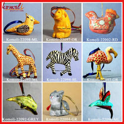 Paper Mache Animals Christmas Ornaments Decoration Hand-painted