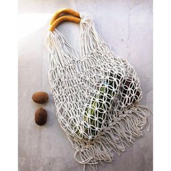 Cotton Designer White Handmade Hand Bag