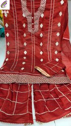 Semi Stitched Embroidered Suit Material