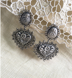 Silver, White Silver And White Pure Silver Earrings ASDQ-18143