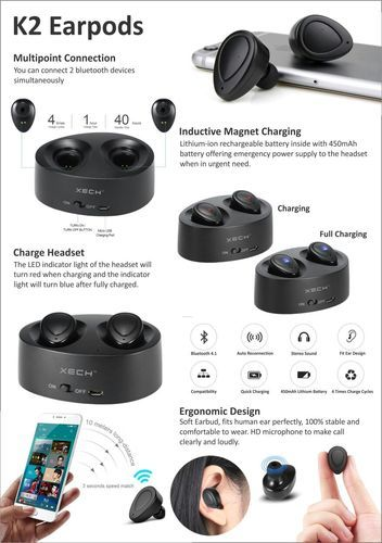 Black Bluetooth Earbuds With Multi Point Connections Rs 1400 Piece Id 18483500612