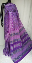 Purple Hand Block Printed Cotton Saree