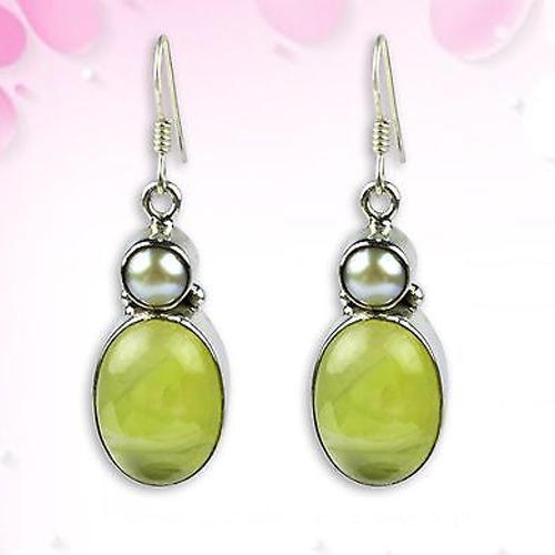 Prehnite & Pearl Gemstone Earrings