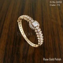 American Diamond Rose Gold Polish with CZ Stones Bracelets