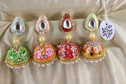 Kundan Painted Jhumka  Earring