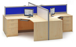 Office Modular Workstation - Four Seater Penta Top