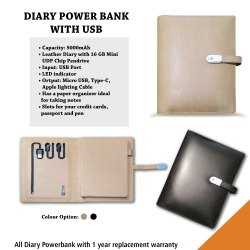 Diary with Power Bank & USB