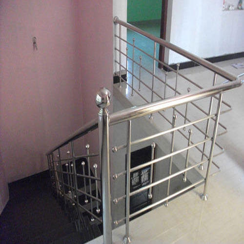 Stainless Steel Staircase Railing With Material With Fitted