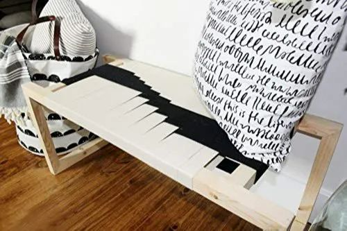 Awesome Doxey Solid Wood Fabric Bench Daybed Black And White Machost Co Dining Chair Design Ideas Machostcouk
