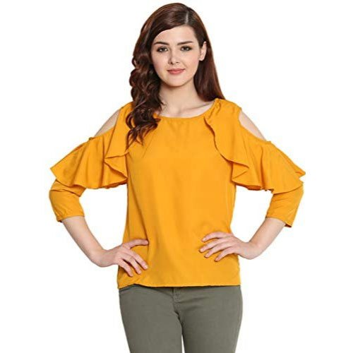 Georgette Round Neck Solid Yellow Cold Shoulder Top