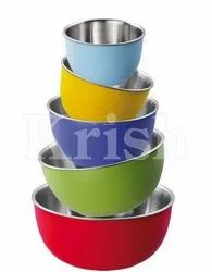 Silver Stainless Steel Plastic Outer Bowls, For Home, Size: 14-23 Cm
