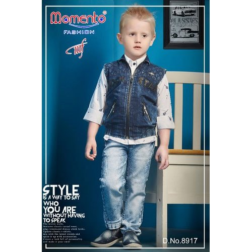 d98a680640a92c Momento Fashion Party Wear Boys Denim Jacket Set