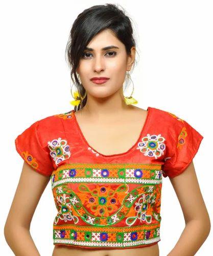 1f70e1bdc71 Red Embroide Banjara India Women  s Dupion Silk Aari Embroide Short Sleeves  Kutchi Blouse