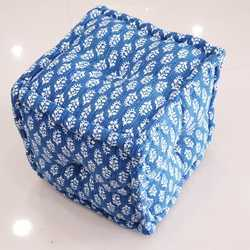 Traditional Large Square Indigo Ottoman Pouf