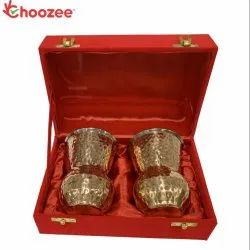 Choozee - Stainless Steel Copper Matka Glass Set of 2 Pcs