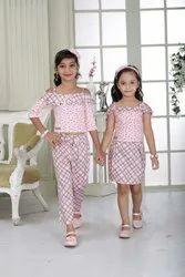 Cool Pink Checks And Polka Dot Mix-Match Stylish Dress