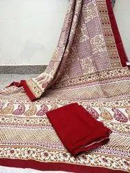 Red Printed Malmal Cotton Sarees