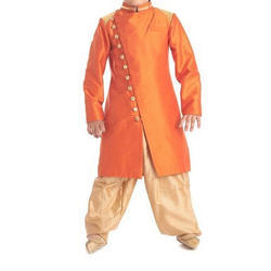 Party Wear Orange Base Kids Sherwani