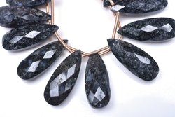 Natural Black Jasper Pear Beads