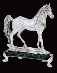 Crystal Studded Marble Base Silver Horse