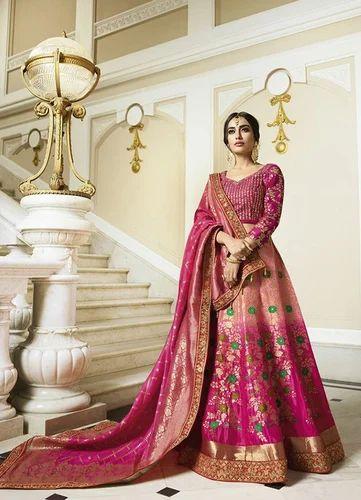 437eec5c87 Wedding Raw Silk Semi-Stitched Embroidery Lehenga, Rs 8575 /piece ...