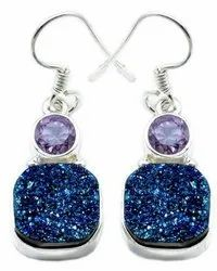 Druzy With Amethyst Earrings