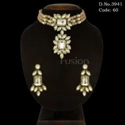 Designer Glass Stones Beaded Choker Necklace Set