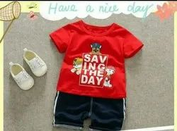 Red Cotton Kids Boys Dress, Age: 0-4 Year, M