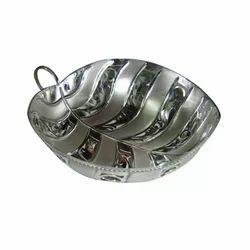 92.5 Silver Leaf Shape Serving Bowl, Size: 7