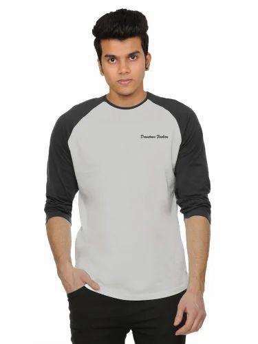 68d6ef26bcac Navy Blue, Black Plain Grey Melange Mens Full Sleeve Raglan T Shirt ...