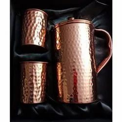 Bronze Hammered Copper Water Jug Glass Set, for For Drinking Water
