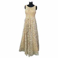 Golden Embroidery Ladies Stylish Wedding Dress