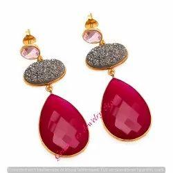 Fuchsia Chalcedony & Black Durzy & Pink Quartz Gemstone Jewelry