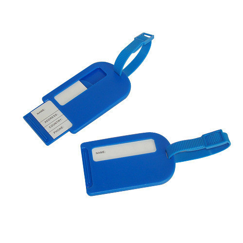 54x86 Blue Corporate Plastic Luggage Tags, Packaging Type: Packet