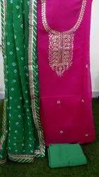 Chanderi Gota Patti Dress Material