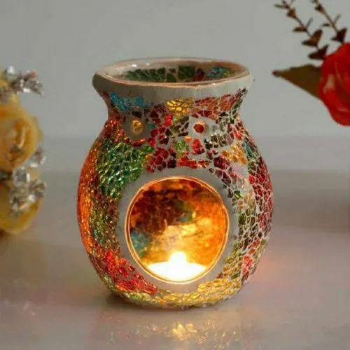 Glass mosaic aroma oil burner