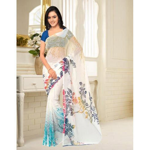 Georgette Printed Fancy Saree, Length: 6.3 m