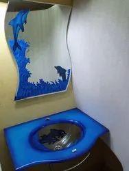 Tanvi Wall Mounted Glass Wash Basin And Mirror