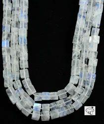 White Rainbows Square Cube Plain Stone Beads